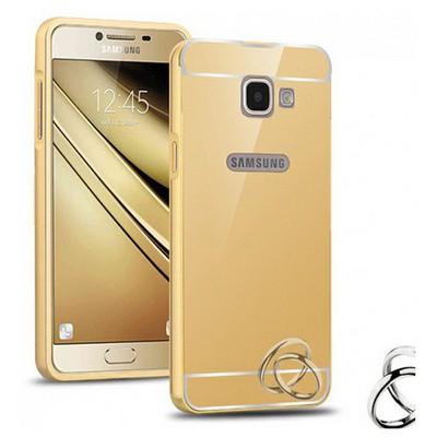 Microsonic Samsung Galaxy C7 Kılıf Luxury Mirror Gold Cep Telefonu Kılıfı