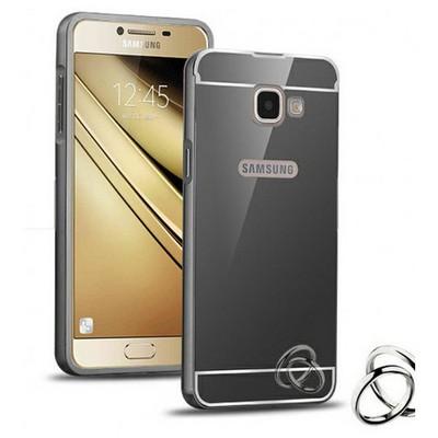 Microsonic Samsung Galaxy C7 Kılıf Luxury Mirror Siyah Cep Telefonu Kılıfı