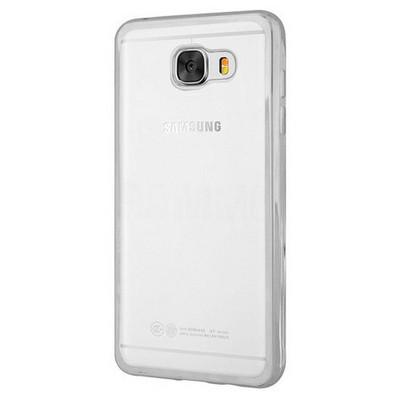 Microsonic Samsung Galaxy C7 Kılıf Flexi Delux Gümüş Cep Telefonu Kılıfı