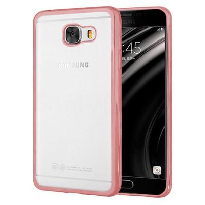 Microsonic Samsung Galaxy C7 Kılıf Flexi Delux Rose Gold Cep Telefonu Kılıfı