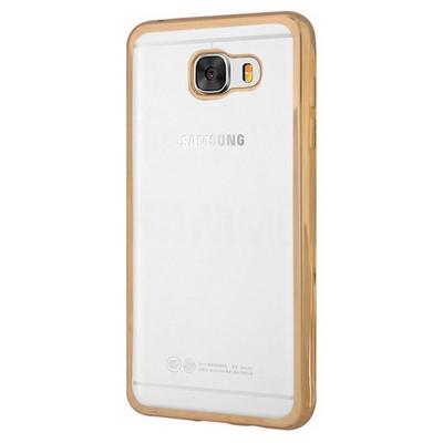 Microsonic Samsung Galaxy C7 Kılıf Flexi Delux Gold Cep Telefonu Kılıfı