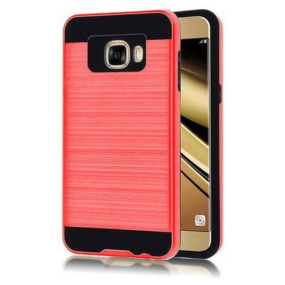 Microsonic Samsung Galaxy C7 Kılıf Slim Heavy Duty Kırmızı Cep Telefonu Kılıfı
