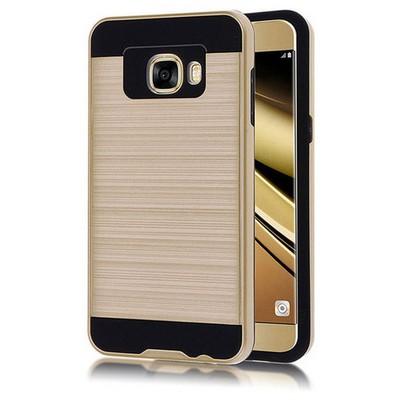 Microsonic Samsung Galaxy C7 Kılıf Slim Heavy Duty Gold Cep Telefonu Kılıfı