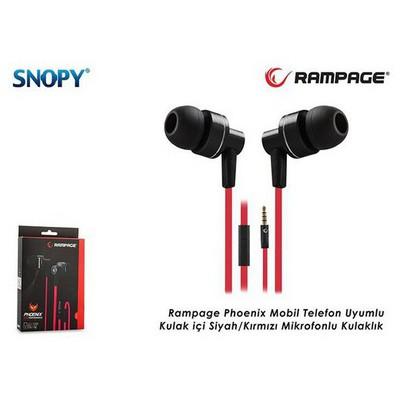 Snopy Phoenıx-k Rampage Phoenix Mobil Telefon Uyumlu Kulak Içi Siyah/kırmızı Mikrofon
