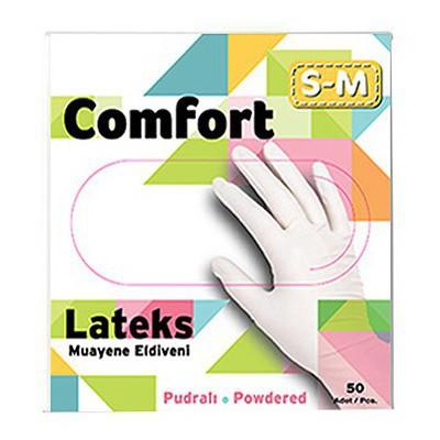 Has-Pet Comfort Lateks Pudralı Muayene Eldiveni Beyaz Small-medium 50'li Paket
