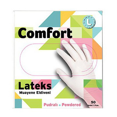 Has-Pet Comfort Lateks Pudralı Muayene Eldiveni Beyaz Large 50'li Paket