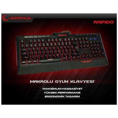 Everest KB-R03 Rampage Rapido KB-R03 Siyah USB 7 Renk Aydınlatmalı Q Multimedia Makrolu Klavye