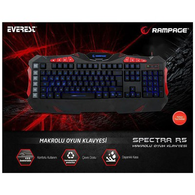 Everest SPECTRA-R5 Rampage SPECTRA R5 Siyah USB 7 Renk Aydınlatmalı Q Multimedia Makrolu Ga Klavye