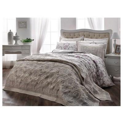 Taç Perilla Çift Kişilik Yatak Örtüsü - Gri Ev Tekstili