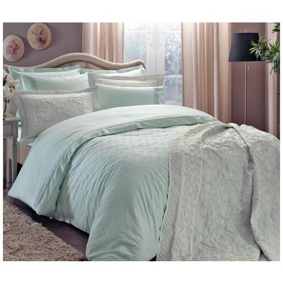 Taç Çift Kişilik Saten Nevresim Takımı - Sunshine Mint Ev Tekstili