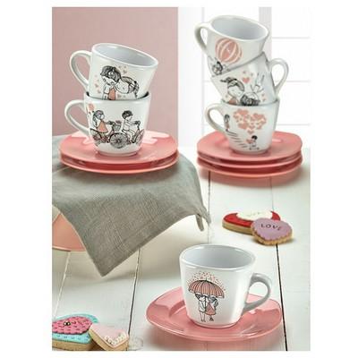 Keramika Takım Cay Yedı Tepe 12 Parca Beyaz 004-pembe 550 Pınk Love Keramıra A Çay Seti