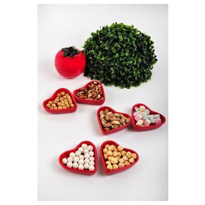 Keramika 6 Lı 9 Cm Kalp Kırmızı Sosluk Çerezlik
