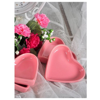 Keramika 6 Lı 9 Cm Kalp Pembe Sosluk Tabak