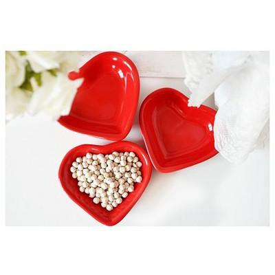 Keramika 6 Lı 14 Cm Kalp Kırmızı Bayrak Cerezlık Çerezlik