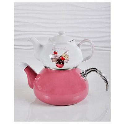 Keramika Set Cay 2 Parca Pınk Cake Çay Seti