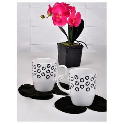 Keramika 2 Lı 9 Cm Fullkeyf Sıyah Bos Kalp Bulut Kupa Çay Seti