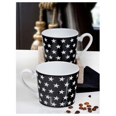Keramika 2 Lı 9 Cm Sıyah Üzerı Beyaz Yıldız Kupa Çay Seti