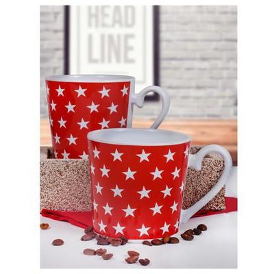 Keramika 2 Lı 9 Cm Kırmızı Üzerı Beyaz Yıldız Kupa Çay Seti