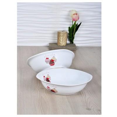 Keramika 2 Lı 25 Cm Pınk Cake Dıyar Salata Kasesı Tabak