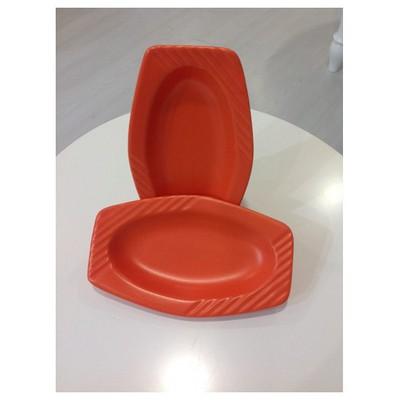 Keramika 2 Lı 17 Cm Mat Turuncu Cok Amaclı Kayık Melısa Tabak