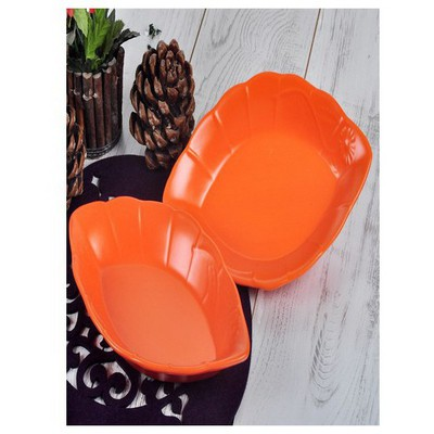 Keramika 2 Lı 30 Cm Mat Turuncu Cok Amaclı Kayık Papatya Tabak