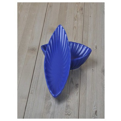 Keramika 2 Lı 20 Cm Mat Efe Mavı Cok Amaclı Kayık Mıdye Tabak