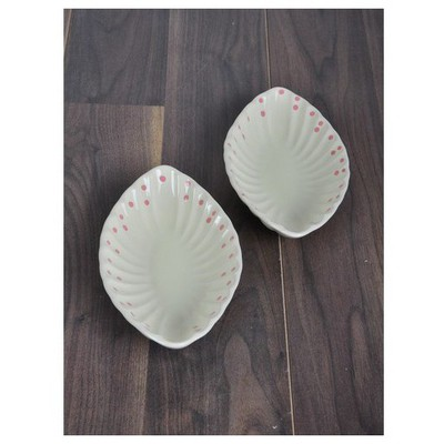 Keramika 2 Lı 25 Cm Krem Uzerı Pembe Cok Amaclı Kayık Mıdye Tabak