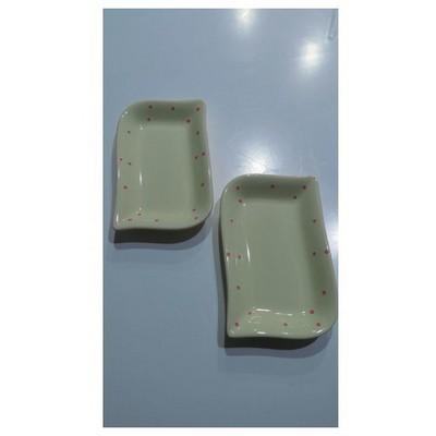 Keramika 2 Lı 19 Cm Krem Uzerı Pembe Cok Amaclı Kayık Ada Tabak