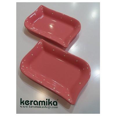 Keramika 2 Lı 22 Cm Pembe Uzerı Krem Cok Amaclı Kayık Ada Tabak
