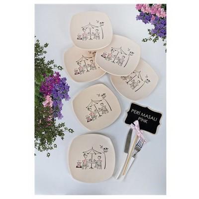Keramika 6 Adet Pasta Tabağı 22 Cm Kosem Perı Masalı Pınk Tabak