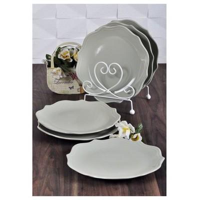 Keramika 6 Adet Pasta Tabağı 21 Cm Romeo Messe Grı Tabak