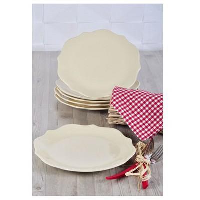Keramika 6 Adet Servıs Tabağı 26 Cm Romeo Krem Tabak