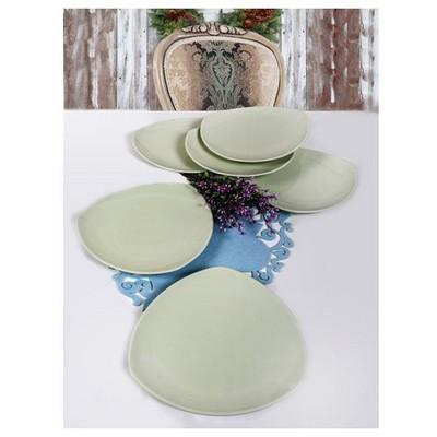 Keramika 6 Adet Servıs Tabagı 27 Cm Ucgen Yesıl Nıl Tabak
