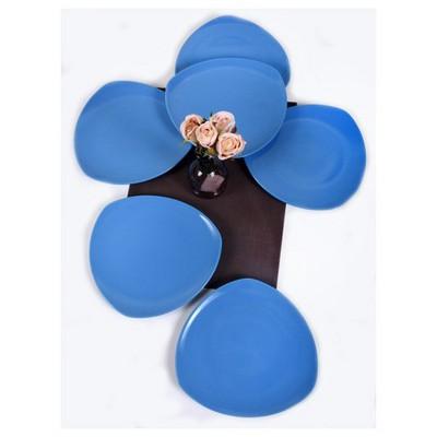 Keramika 6 Adet Servıs Tabagı 27 Cm Ucgen Mavı Tabak