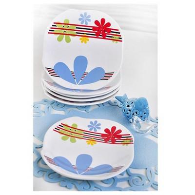 Keramika 6 Adet Pasta Tabağı 20 Cm Ruzgar Globe Fun Color Tabak