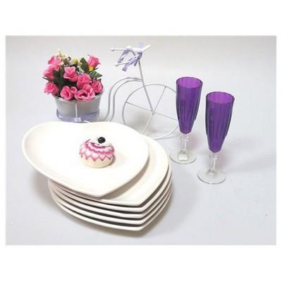 Keramika 6 Adet Servıs Tabağı 25 Cm Kalp Beyaz Tabak