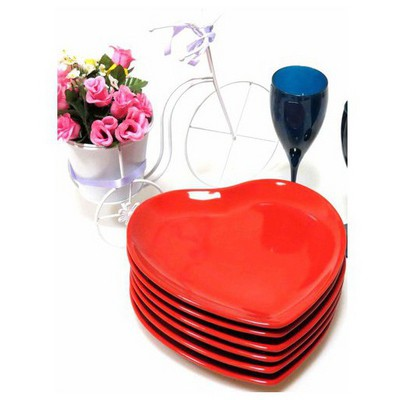 Keramika 6 Adet Servıs Tabağı 25 Cm Kalp Kırmızı Tabak