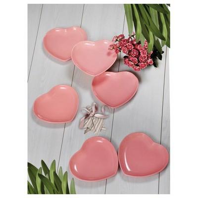 Keramika 6 Adet Servıs Tabağı 25 Cm Kalp Acık Pembe Tabak