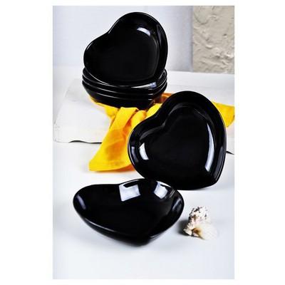 Keramika 6 Adet Yemek Tabağı 20 Cm Kalp Sıyah Tabak