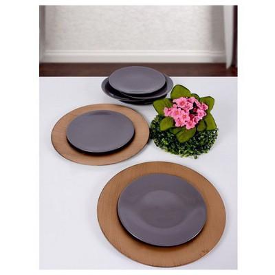 Keramika 6 Adet 23 Cm Koyu Gri Gama Pasta Tabağı Tabak
