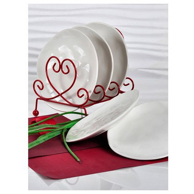 Keramika 6 Adet Pasta Tabagı Organık 20 Cm Beyaz Tabak