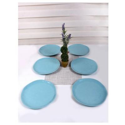 Keramika 6 Adet Servıs Tabagı Organık 26 Cm Turkuaz Tabak