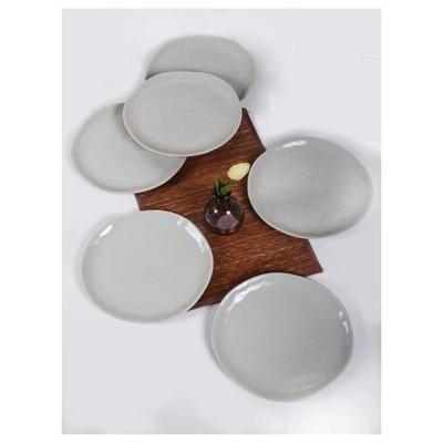 Keramika 6 Adet Servıs Tabagı Organık 26 Cm Grı Cam Gobegı Tabak