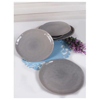 Keramika 6 Adet Servıs Tabagı Organık 26 Cm Grı Tabak