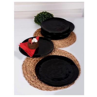 Keramika 6 Adet Servıs Tabagı Organık 26 Cm Sıyah Tabak