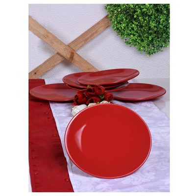 Keramika 6 Adet Pasta Tabagı 20 Cm Kırmızı Bayrak Tabak