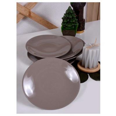 Keramika 6 Adet Pasta Tabagı 20 Cm Toprak Taupe Tabak