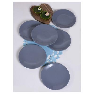 Keramika 6 Adet 20 Cm Gri Ege Pasta Tabağı Tabak