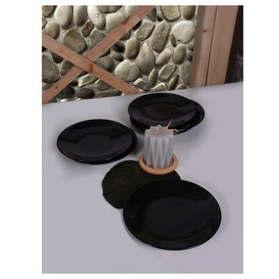 Keramika 6 Adet Pasta Tabagı 20 Cm Sıyah Tabak