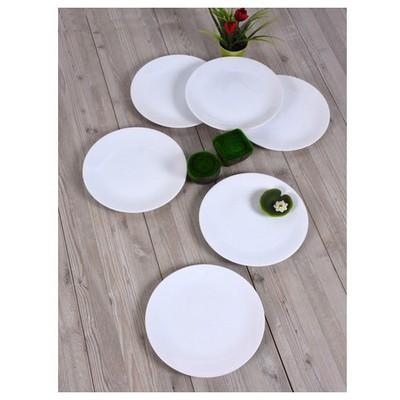 Keramika 6 Adet Servıs Tabağı 25 Cm Beyaz Tabak